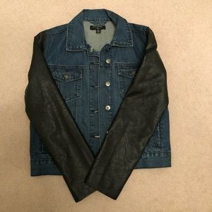 Urban Outfitters Denim Jacket with Leather sleeve